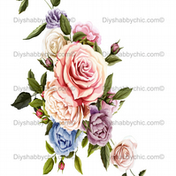 Furniture Wood Decal Vintage Image Transfer Antique Pastel Roses Diy Waterslide