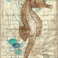 Furniture Wood Decal Vintage Image Transfer Antique Wood Seahorse Diy