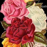 Furniture Wood Decal Vintage Image Transfer Antique Sunset Roses Diy