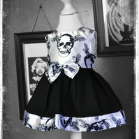 Cute & Spooky Little Girl's Gothic Skull Dress by House of Goth
