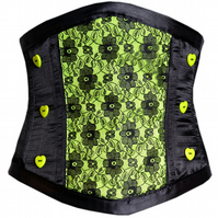Satin & Lace Metal Boned Witch Vampire Waist Cincher Corset by House of Goth