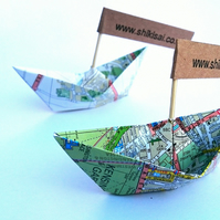 Origami boat, wedding decor,  place cards, map, party decor, beach theme party