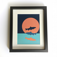 Framed fish and ocean sunset collage, Fish design collage, Coastal theme art