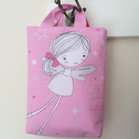 Reversible Tote Bag for Little Girl. Pink Fairy Fabric. Birthday Gift. Like Mum