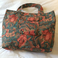 Tote Bag Shopper Strong Turquoise Green Terracotta Floral Cotton Fabric Lined