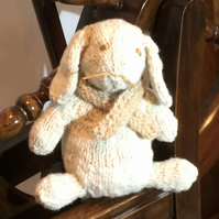 Bunny. Baby, Hand-spun Hand-knitted Pure Natural Wool, Gift, Birth, Christening