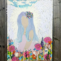 Flower Angel mixed media canvas.