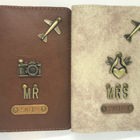 Mr & Mrs Passport Cover Holder Wedding Gift Personalised Customised