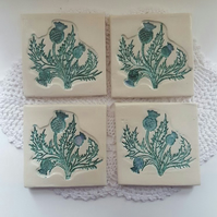 Set of 4 unique ceramic coasters with Scottish thistle design