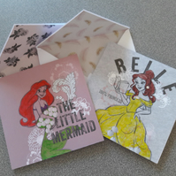 Disney Princess cards featuring Belle and Ariel
