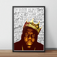 Biggie Smalls INSPIRED Poster, Print with Quotes, Lyrics