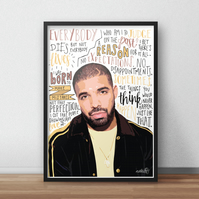 Drake INSPIRED Poster, Print with Quotes, Lyrics