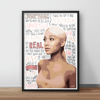 Ariana Grande INSPIRED Poster, Print with Quotes, Lyrics