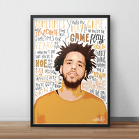 J Cole INSPIRED Poster, Print with Quotes, Lyrics