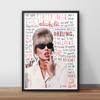 Patsy Stone, Absolutely Fabulous INSPIRED Poster, Print with funny Quotes