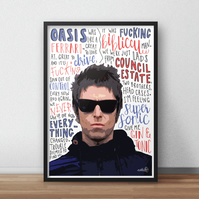 Liam Gallagher INSPIRED Poster, Print with Quotes, Lyrics