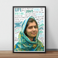 Malala Yousafzai INSPIRED Poster, Print with Inspirational Quotes