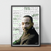 Martin Luther King, MLK INSPIRED Poster, Print with Inspirational Quotes