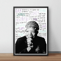 Maya Angelou INSPIRED Poster, Print with Inspirational Quotes