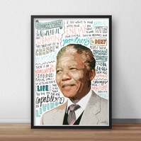 Nelson Mandela INSPIRED Poster, Print with Inspirational Quotes