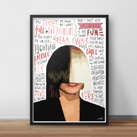 Sia INSPIRED Poster, Print with Quotes, Lyrics