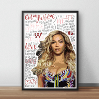 Beyonce INSPIRED Poster, Print with Quotes, Lyrics