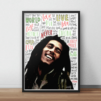 Bob Marley INSPIRED Poster, Print with Quotes, Lyrics