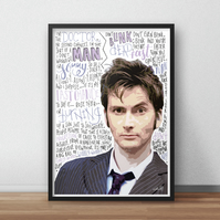 David Tenant, Doctor Who INSPIRED Poster, Print with Quotes