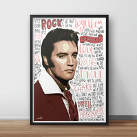 Elvis Presley INSPIRED Poster, Print with Quotes, Lyrics