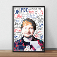 Ed Sheeran INSPIRED Poster, Print with Quotes, Lyrics