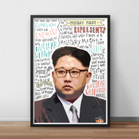 Kim Jong-Un INSPIRED Poster, Print with Quotes