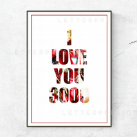 Marvel, Avengers Endgame INSPIRED Quote Poster Print - I love you 3000