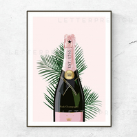 Pink Champagne Poster, Print