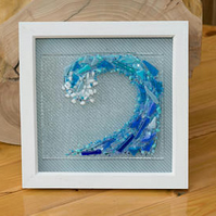 Wave Fused Glass Ocean Picture.Nautical.Coastal Art