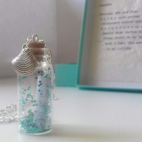 Lullaby Message in a Bottle Necklace, Typewritten Ocean Poetry