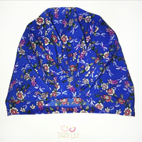 Royal blue dragonfly floral print stretch baby girl gift turban beanie style hat