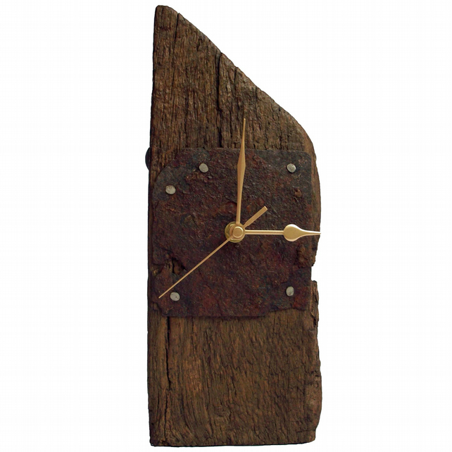 Clock - Oak Beam and Rusty Metal Mantel Clock
