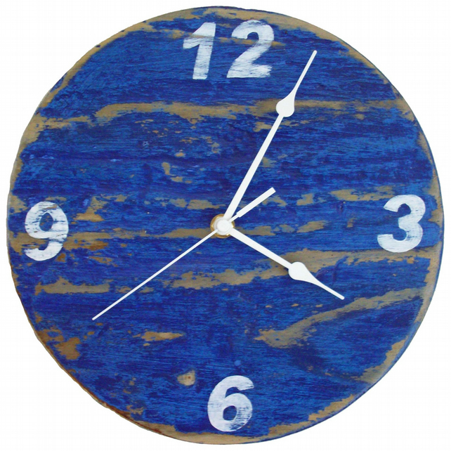 Sale - Blue & White Driftwood Wall Clock