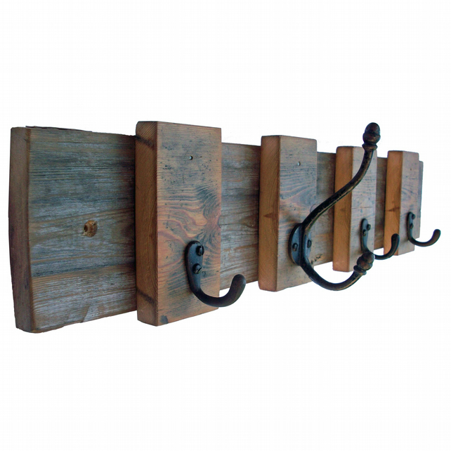 Coat Hooks - Upcycled Coat Hooks on Reclaimed Wooden Floorboards