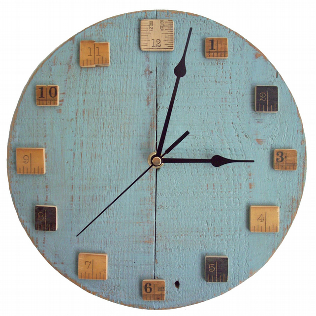 Wall Clock With Vintage Wooden Rulers