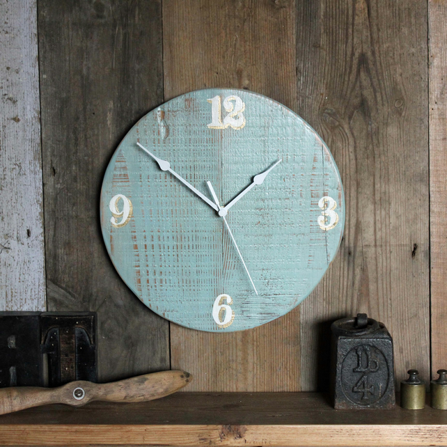 Wall Clock Light Blue White Gold