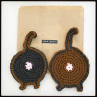 Cat,Dog butt crochet coasters. Great funny gift. Dog bum.