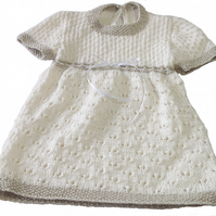 Hand knitted cotton baby girl dress fits approx 3 month old, cream & limestone