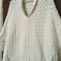 Hand Crocheted Poncho, shawl in cream, soft acrylic yarn, warm, adult size