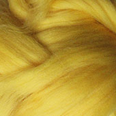 Merino Wool tops fibre, yellow roving, 100g Needle or wet felting spinning