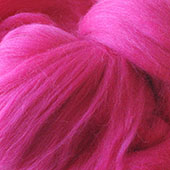 Merino Wool tops fibre, fuchsia roving, 100g Needle or wet felting spinning