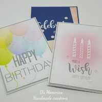 Set of 3 female birthday greeting cards