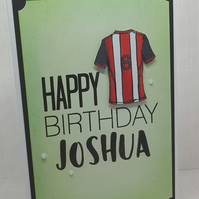 Personalised birthday card, football shirt, team colours