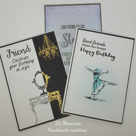 Set of birthday cards, friends, 3 cards, handmade