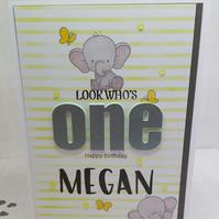 1st birthday card, personalised, for a girl or boy, modern design, handmade